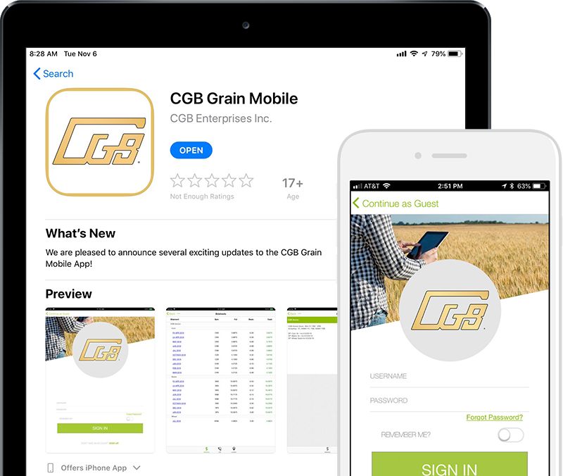 CGB Grain mobile app preview