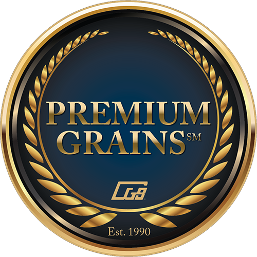 blue and gold Premium Grains seal logo